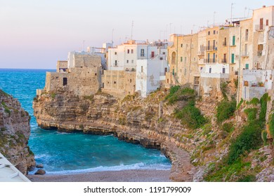 Polignano a mare: houses in the cliff by the sea