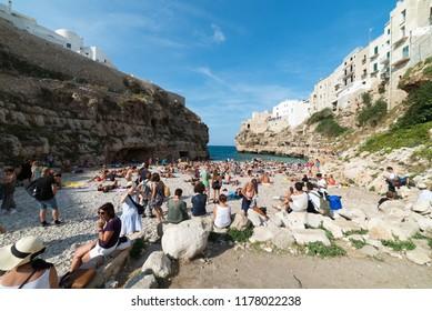 Polignano a Mare, Italy - September 12, 2018 year: Beach in Polignano a Mare.
