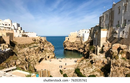 Polignano a Mare, Puglia, Italy, 11.02.2017. Capture from the beautiful town and tourist destination Polignano, Southern Italy.
