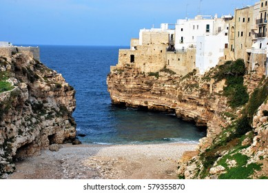 Polignano a Mare a small town near Bari, Italy and popular tourist destination in summer.