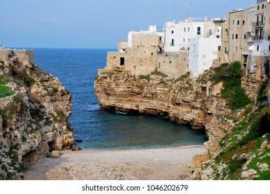Polignano a Mare a small town on the Adriatic coast in the Apulia region, Italy