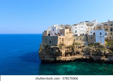 Polignano a mare view, Apulia, Italy. Italian panorama. Cliffs on adriatic sea