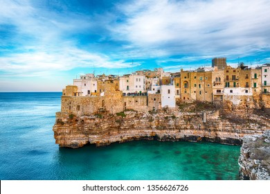Polignano a Mare village on the rocks at sunset. Polignano a Mare, Apulia, Italy, province of Bari.