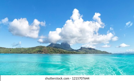 in polinesya bora bora the islland from the sea and the hill near the cloud