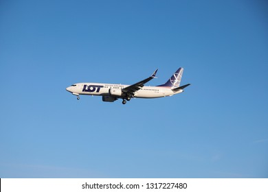 LOT  Polish Airlines Boeing 737 MAX8 w registration SP-LVA landing at Heathrow Airport. LOT Polskie Linie Lotnicze is the Polish flag carrier and member of Star Alliance. London, UK - February 5, 2019