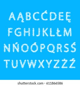 The Polish alphabet from clouds, uppercase letters on the  blue background.