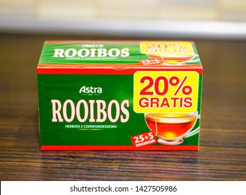Polish Astra rooibos tea bags in a box on a table on circa January 2015 in Poznan, Poland.