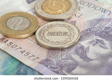 Polish banknotes and coins zloty pln and German translations for lockout