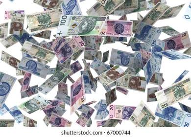 Polish banknotes Falling banknotes - the rain of money