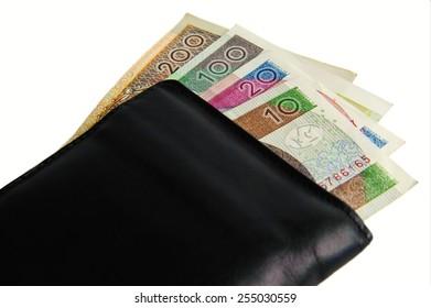 Polish banknotes isolated on white