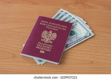 Polish biometric passport with five dollars banknotes.