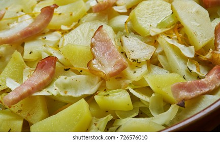 Polish Cabbage, Potato, and Bacon Casserole. close up