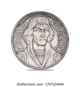 Polish coin with the Nicolaus Copernicus from 1968 on a white background