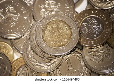 Polish coins for business background