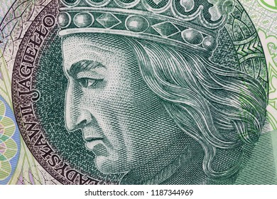 Polish currency money bill one hundred zloty. Macro crop portrait of King of Poland Wladyslaw II Jagiello. Business background.