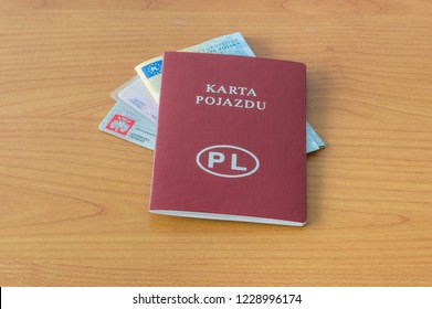 Polish documents ID, driver licence, vehicle registration certificate and vehicle licence.