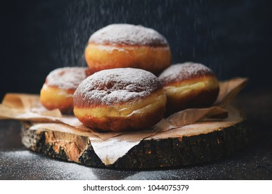 Polish donuts with icing, fat thursday