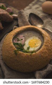 Polish easter sour soup in bread, traditional