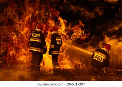 Polish firefighters extinguishing a dangerous fire