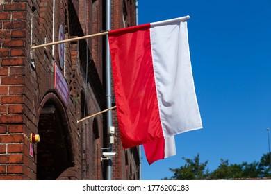 Polish flag on the builings