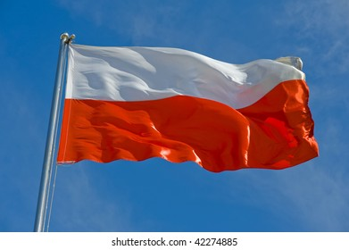 polish flag on a pole against blue sky