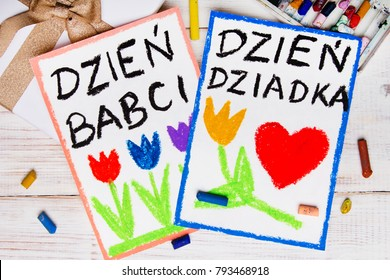 Polish Grandfather's Day and Grandmother' Day card. Colorful hand drawing, crayons and gift box.