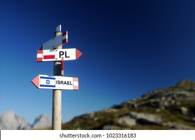 Polish and Israeli flags on mountain road sign. Differences in relationships and policy concept.