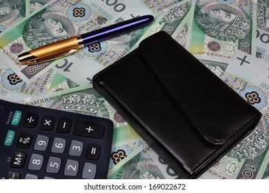 Polish money background calculator pen wallet