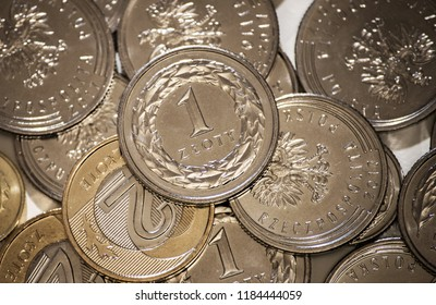 Polish money, coins for business background