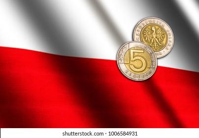 Polish money on the flag. Abstract illustration.