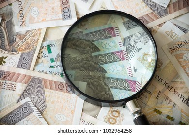 Polish money under the magnifier / high nominal