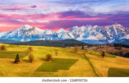 Polish mountains Tatry at sunset