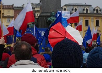 Polish national flags and EU flags