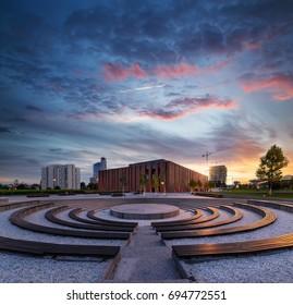 Polish National Radio Symphony Orchestra in Katowice with dramatic sunset