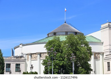 Polish parliament (Sejm) building in Warsaw. Government architecture.