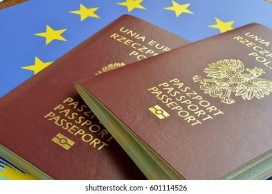Polish passport on the background of the EU flag