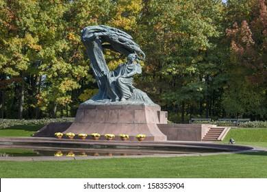 Polish pianist Frederic Chopin monument in Lazienki Park, Warszawa, Poland
