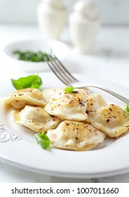 Polish pierogi with cabbage and mushrooms