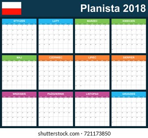 Polish Planner blank for 2018. Scheduler, agenda or diary template. Week starts on Monday