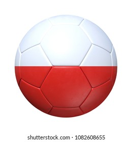 Polish Poland soccer ball with national flag. Isolated on white background. 3D Rendering, Illustration.