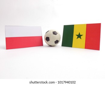 Polish and Senegalese flag with football ball isloated on white background