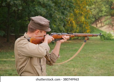 Polish soldier with Mosin rifle