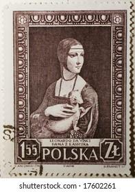 Polish stamp with Leonardo da Vinci picture