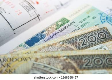Polish visa with money, Kiev, Ukraine December 25, 2018