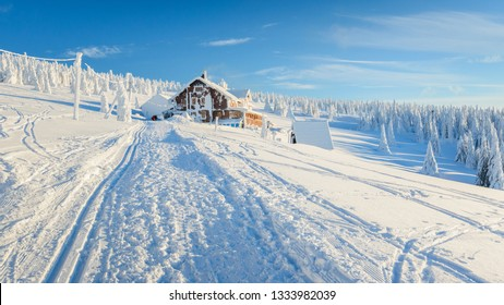 Polish Winter landscape in the mountains, snowy trees and roads.