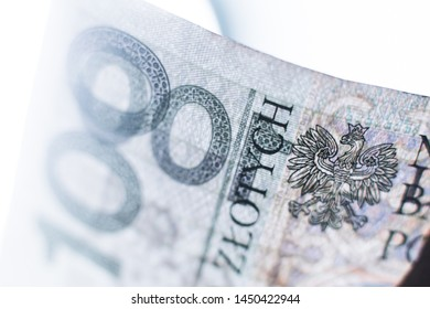 Polish Zloty banknotes (PLN) - Close Up on 100 PLN banknote. Macro shot. Very lighted banknotes
