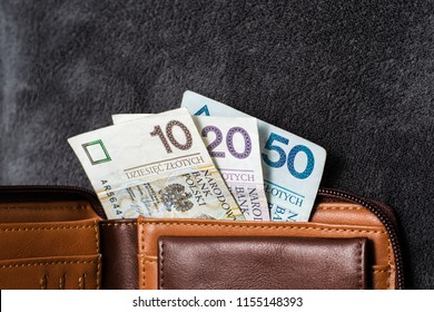 Polish Zloty banknotes (PLN) closeup. Polish 50(fifty), 20(twenty), 10(ten) Zlotych in brown wallet
