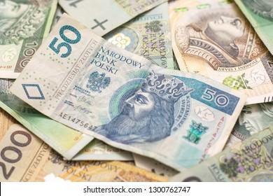 Polish Zloty banknotes (PLN) closeup. -Image.