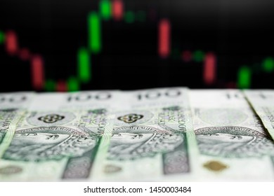 Polish Zloty banknotes (PLN) - Closeup on 100 PLN banknote. Macro shot.  Focus on face looking at chart