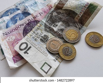 Polish Zloty Banknotes (PLN) Closeup on 50, 20, 10 PLN Banknote, Zlotych Macro Shot, Official Currency of Poland in Denominations of 10, 20 & 50 Zloty, Bank of Poland, Narodowy Bank Polski